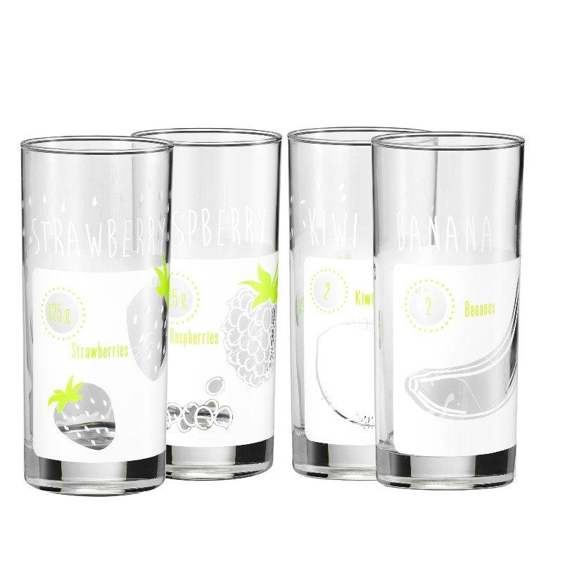Glas wmf smoothie glaeser basic set 4 tlg saftglaeser mit for Design tisch smooty