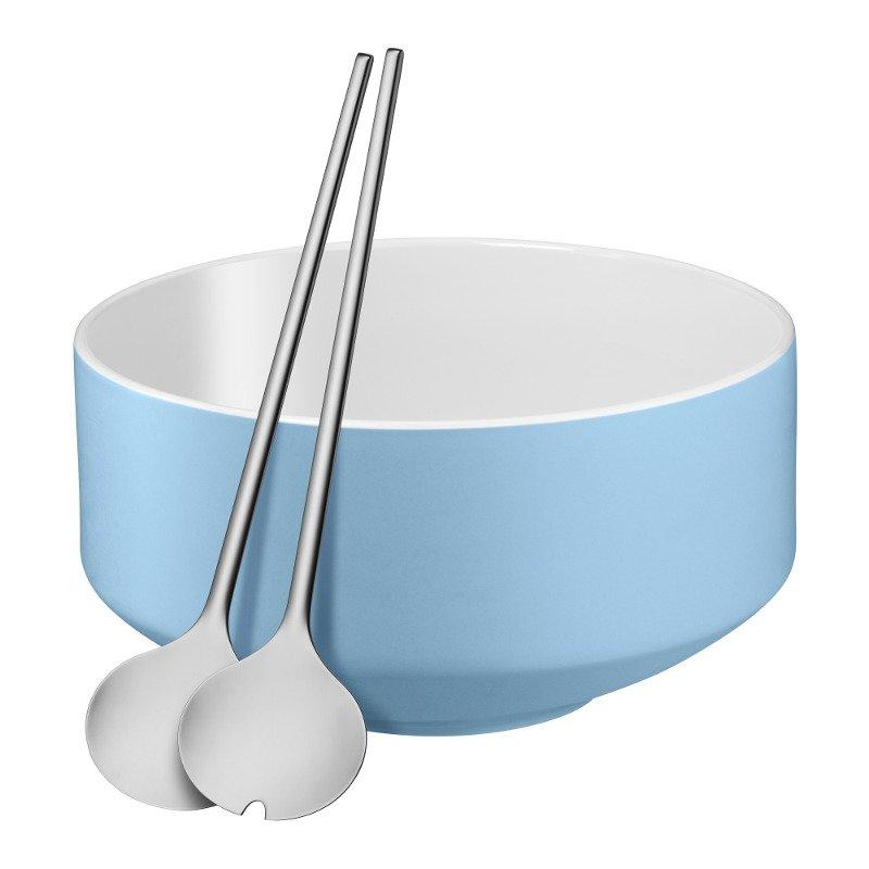 kuechenhelfer wmf salat set moto 3 tlg salatbesteck mit porzellan schuessel blau 0656069490 47. Black Bedroom Furniture Sets. Home Design Ideas