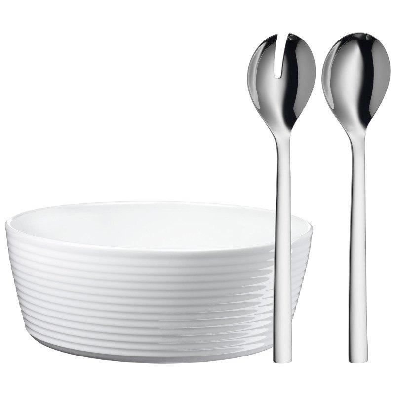kuechenhelfer wmf salat set nuova 3 tlg salatbesteck mit porzellan schuessel weiss 1293909990. Black Bedroom Furniture Sets. Home Design Ideas